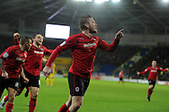 Cardiff city's Aron Gunnarsson celebrates after he scores his sides 2nd goal to make it 2-1. NPower championship, Cardiff city v Crystal Palace at the Cardiff city stadium in Cardiff, South Wales on Boxing Day, Wed 26th Dec 2012. pic by Andrew Orchard, Andrew Orchard sports photography,