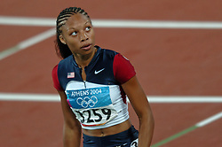 Allyson Felix USA in action during Olympics Games Athletics day 12 on August 24, 2004 in Olympic Stadion Spyridon Louis, Athens.