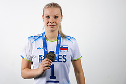 Eva Mori of Slovenia with silver medals after the volleyball match between National team of Turkey and Slovenia in Gold Medal game of Womens U23 World Championship 2017, on September 17, 2017 in SRC Stozice, Ljubljana, Slovenia. Photo by Morgan Kristan / Sportida