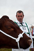 Showing in the bull class. The hairdryers are out and the shampoo is flowing at the Great Yorkshire Show, one of Britain's biggest agricultural shows. Its famous for its competitive displays of livestock. The event, established in 1837, attracts over 125 000 visitors a year and has over 10 000 entries to its pedigree competitions ranging from pigeons and rabbits to bulls and shire horses. At the heart of the show is the passion of the exhibitors who spend hundreds of hours ( and pounds)  training, preparing and grooming their animals.