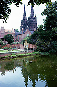 Lichfield Cathedral in Lichfield, Staffordshire, England, the only medieval English cathedral with three spires, in 1965
