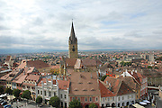 Romania, Transylvania, Sibiu, The old city, the steeple of the Evangical Church of Sibiu in the centre