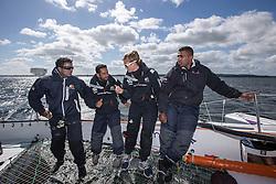 Sami Al Shukaili (OMA), Yassir Al Rahbi (OMA), Mohsin Al Busaidi (OMA) and Anna-Maria Renken (GER). Oman Sail's MOD70 Musandam during Kiel week 2014, 22-06-2014, Kiel - Germany.