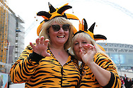 fancy dressed Hull City fans pose outside Wembley Stadium before k/o.  Skybet football league Championship play off final match, Hull city v Sheffield Wednesday at Wembley Stadium in London on Saturday 28th May 2016.<br /> pic by John Patrick Fletcher, Andrew Orchard sports photography.