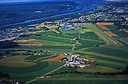Aerial photograph, Susquehanna River, farmlands, Sellinsgrove, Pennsylvania