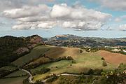 Italy, Marche, view from  Rocca di San Leo, San Marino