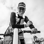 Leg 9, from Newport to Cardiff, day 02 on board MAPFRE, Tamara Echegoyen, at the mid pedestal. 21 May, 2018.
