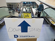 03 FEBRUARY 2020 - DES MOINES, IOWA: The escalator to the the caucus site for precinct 55 in downtown Des Moines. More than 1,000 voters registered to participate in precinct 55 caucus. The precinct awarded 14 delegates during its caucus. Pete Buttigieg was awarded 5, Bernie Sanders was awarded 5 and Elizabeth Warren was awarded 4.    PHOTO BY JACK KURTZ
