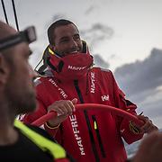 Leg 3, Cape Town to Melbourne, day 15,Xabi Fernandez, and Blair Tuke on board MAPFRE. Photo by Jen Edney/Volvo Ocean Race. 24 December, 2017.