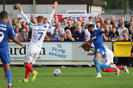 AFC Wimbledon striker Jake Jervis (10) dribbling into box during the EFL Sky Bet League 1 match between AFC Wimbledon and Portsmouth at the Cherry Red Records Stadium, Kingston, England on 13 October 2018.