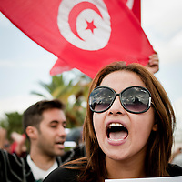 Tunis, Tunisia 16 October 2011<br /> Tunisians demonstrate for peace, freedom of speech and for a secular state.<br /> An election for a Constituent Assembly will be held in Tunisia on 23 October 2011, following the Tunisian Revolution.<br /> Photo: Ezequiel Scagnetti