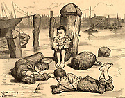 Nobody's Children'  l: The Raw Material. Destitute London boys passing the time by lounging and smoking before being given a place on  board the naval training ship 'Chichester'.  Illustration by Frederick Barnard (1846-1896) from 'Cassell's Magazine' (London, c1867).