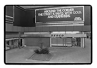 Tesco store and advert for a jewellery store, Elephant & Castle, London, 1982. South-East London, 1982