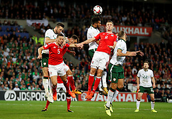 October 9, 2017 - Cardiff, Pays de Galles - Wales' James Chester and Andy King in action with Republic of IrelandÃ•s Shane Duffy and Cyrus Christie (Credit Image: © Panoramic via ZUMA Press)