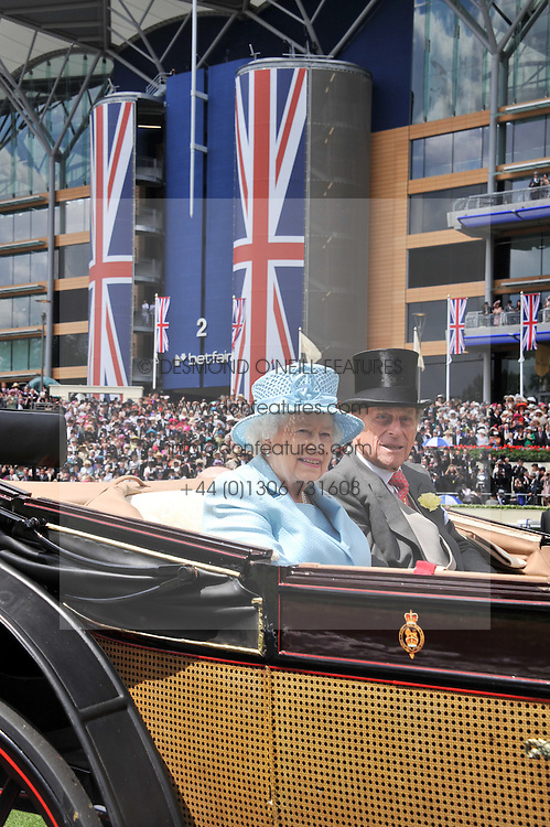 HM THE QUEEN and HRH The DUKE OF EDINBURGH at day 1 of the Royal Ascot Racing Festival 2012 held on 19th June 2012.