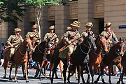 AIF Light horse Soldiers in old World War 1 uniforms march during Brisbane ANZAC day 2005 parade <br />