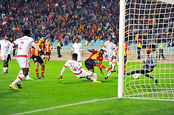 March 8, 2019 - Rades, Tunisia - Franck Kom Cameroonian player who scores the 2nd goal of (EST) during the  Match of the 5th day of the group phase of the CAF Champions League, between L'Esperance sportive de Tunis (EST) and Horoya Conakry (HAC) of Guinea Friday 8 March Radès.EST won by 2/0 ..photo: Yassine Mahjoub. (Credit Image: © Chokri Mahjoub/ZUMA Wire)