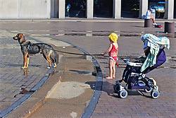 Child With Dog On Leash