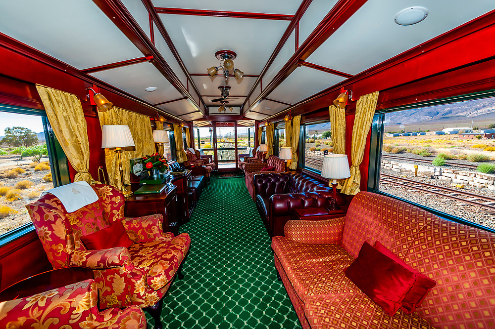 """Observation car on the Rovos Rail train  """"Pride of Africa"""" on it's journey between Pretoria and Cape Town, South Africa."""