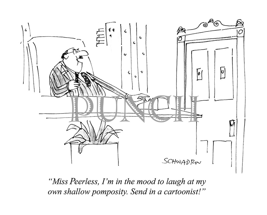 """Miss Peerless, I'm in the mood to laugh at my own shallow pomposity. Send in a cartoonist!"""