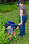Mother and child discovering plant life near Lake Wallenpaupack, PA