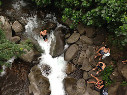 Swimming in Iao Stream, Iao Valley State Park, Maui, Hawaii, US