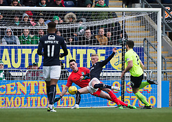 Falkirk's Craig Sibbald scoring their goal. half time : Falkirk 1 v 1 Hibernian, Scottish Championship game played 31/12/2016 at The Falkirk Stadium .