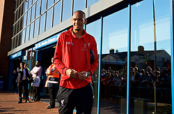 BLACKBURN, ENGLAND - Thursday, July 19, 2018: Liverpool's VFabio Henrique Tavares 'Fabinho' arrives at the stadium before a preseason friendly match between Blackburn Rovers FC and Liverpool FC at Ewood Park. (Pic by Paul Greenwood/Propaganda)