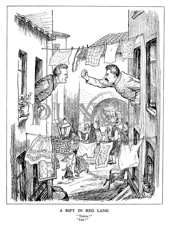 """A Rift in Red Lane. """"Traitor!"""" """"Liar!"""" (cartoon showing Stalin waving an angry fist at marshal Tito between the washing lines as Yugoslavs run for cover below)"""
