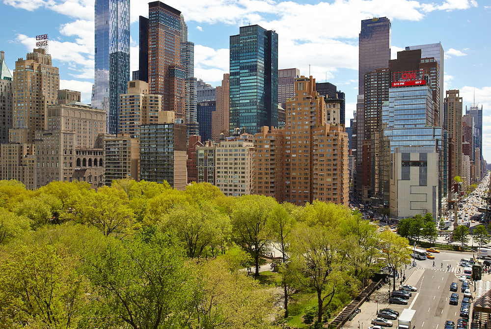 View of Central Park South and Columbus Circle from 25 Central Park West, 14th floor