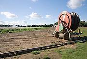 Crop irrigator spraying water on potatoes, Shottisham, Suffolk, England