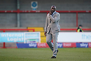 Macclesfield Town manager Sol Campbell walks of the pitch at the as his team come away with a draw, Crawley Town 1-1 Macclesfield Town during the EFL Sky Bet League 2 match between Crawley Town and Macclesfield Town at The People's Pension Stadium, Crawley, England on 23 February 2019.