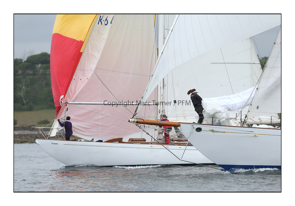 Day one of the Fife Regatta, Round Cumbraes Race.<br /> Sonata, Patrick  Caiger-Smith, GBR, Bermudan Sloop, Wm Fife 3rd, 1950 and Latifa, 8, Mario Pirri, ITA, Bermudan Yawl, Wm Fife 3rd, 1936<br /> <br /> * The William Fife designed Yachts return to the birthplace of these historic yachts, the Scotland's pre-eminent yacht designer and builder for the 4th Fife Regatta on the Clyde 28th June–5th July 2013<br /> <br /> More information is available on the website: www.fiferegatta.com