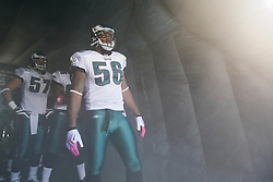 Philadelphia Eagles linebacker Akeem Jordan #56 prepares to enter the field before the NFL game between the Tampa Bay Buccaneers and the Philadelphia Eagles on October 11th 2009. The Eagles won 33-14 at Lincoln Financial Field in Philadelphia, Pennsylvania. (Photo By Brian Garfinkel)
