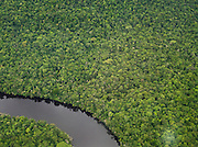 The meandering Canaima River seen from the air, in Canaima National Park, Venezuela
