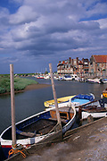 AE2KRF Blakeney quayside boats Norfolk England