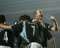 Photo. Andrew Unwin.<br /> Southampton v Newcastle United, FA Cup Third Round, Friends Provident St Marys Stadium, Southampton 03/01/2004.<br /> Newcastle's Alan Shearer (r) celebrates his team's third goal scored by Kieron Dyer (8).