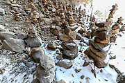 At the eastern side of the monastery, there's a remarkably 'holy' Seven Stone site where visitors seeking superstitious support from some other powers of the universe, would have to gather and put seven stones over one-another. The site at those standing rock towers built by the seven stones pictured on Sunday, Dec 27, 2020 - would be a sign of reassurance that the wish of the one who built the rocky tower would be fulfilled. (Photo/ Vudi Xhymshiti)