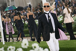 German designer Karl Lagerfeld acknowledges the public at the end of Chanel Fall-Winter 2007-2008 Haute-Couture collection show, in Saint-Cloud, France on July 3, 2007. Photo by Nebinger-Orban-Taamallah/ABACAPRESS.COM
