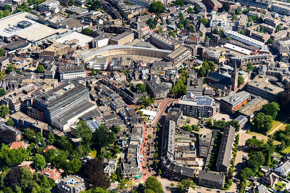 Nederland, Noord-Holland, Hilversum, 29-06-2018; Centrum van Hilversum.<br /> City centre Hilversum.<br /> <br /> aerial photo (additional fee required);<br /> copyright foto/photo Siebe Swart