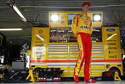 October 19, 2018 - Kansas City, Kansas, United States of America - Joey Logano (22) hangs out in the garage during practice for the Hollywood Casino 400 at Kansas Speedway in Kansas City, Kansas. (Credit Image: © Justin R. Noe Asp Inc/ASP via ZUMA Wire)