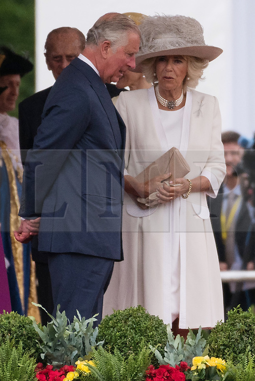 © Licensed to London News Pictures. 12/07/2017. London, UK. CHARLES, PRINCE OF WALES and the DUCHESS of CAMBRIDGE attends the Ceremonial Welcome at Horse Guards Parade for His Majesty King Felipe VI of Spain and Her Majesty Queen Letizia during a three day State visit. Photo credit: Ray Tang/LNP