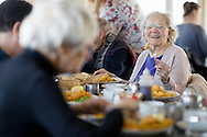 EMBARGOED 00:01 Wednesday 22nd February; 2017.<br /> <br /> Residents of Chestnut View care home enjoying fish and chips while visiting Southsea, Hampshire. They are amongst the first of 100,000s of old and vulnerable people to enjoy new Out and About excursions after Oomph! announces nationwide expansion plans today (Wednesday 22nd February).<br /> Out and About tackles a lack of outings for people in care settings due to social care funding cuts. Innovative model offers economies of scale on excursion planning, transport and conductors across care settings in an area.<br /> 80 Out and About minibuses will hit the road in first year thanks to £1.5million investment from Mike Parsons, Care and Wellbeing Fund and Nesta Impact Investments.<br /> Photograph by Christopher Ison ©<br /> 07544044177<br /> chris@christopherison.com<br /> www.christopherison.com