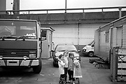 Irish Travellers living on Council-owned site under the Westway in West London. These pictures were taken in 2004.
