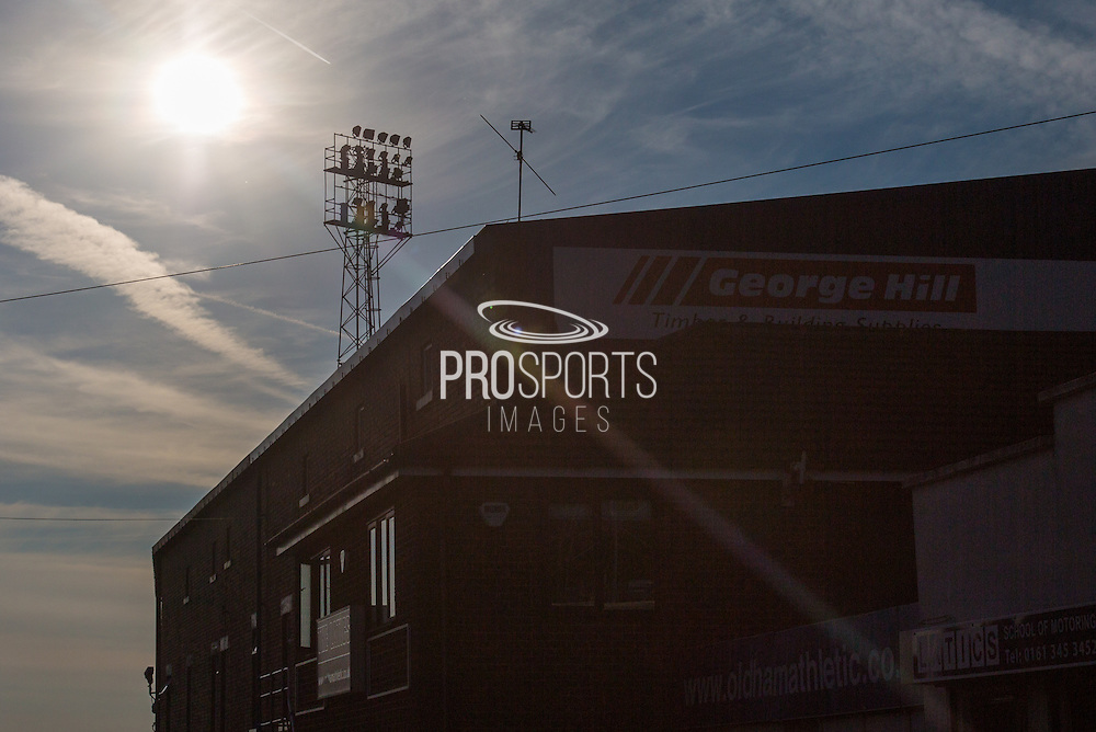 Sun shining outside the stadium before the EFL Sky Bet League 1 match between Oldham Athletic and Northampton Town at Boundary Park, Oldham, England on 16 August 2016. Photo by Simon Brady.