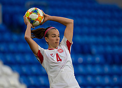 CARDIFF, WALES - Tuesday, April 13, 2021: Denmark's Rikke Læntver Sevecke takes a throw-in during a Women's International Friendly match between Wales and Denmark at the Cardiff City Stadium. (Pic by David Rawcliffe/Propaganda)