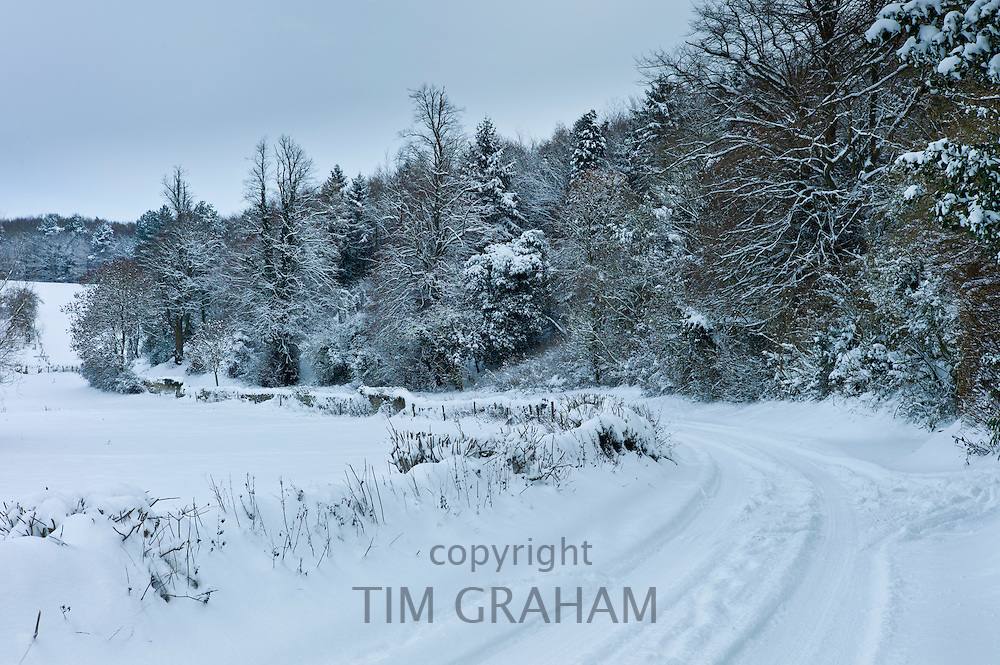 Snow scene in The Cotswolds, UK