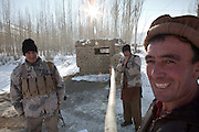 Afghanistan's Border Police. In the border town of Ishkashim, on the Tajikistan - Afghanistan border. Hindukush mountains.