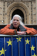 Photographer, Jenny Matthews at a Brexit protest on College Greeen in Westminster, the morning after another of Prime Minister Theresa May's Brexit deal votes failed again in Parliament, on 13th March 2019, in London, England.