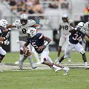 ORLANDO, FL - NOVEMBER 11: David Pindell #5 of the Connecticut Huskies scrambles with the ball during a NCAA football game between the University of Connecticut Huskies and the UCF Knights on November 11, 2017 in Orlando, Florida. (Photo by Alex Menendez/Getty Images) *** Local Caption *** David Pindell